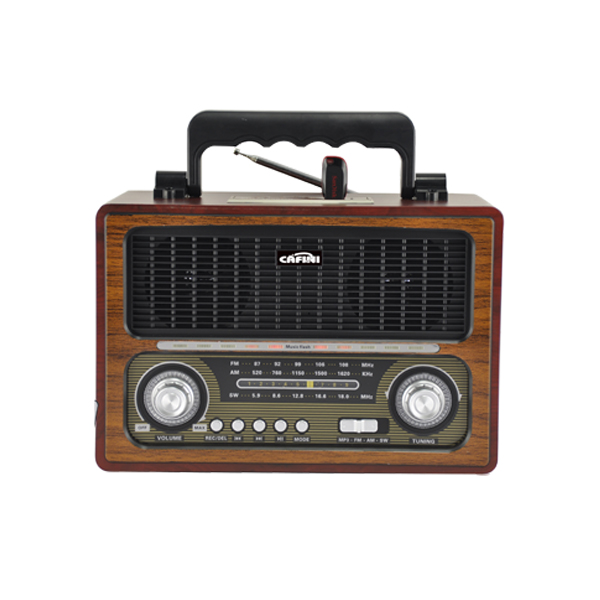 Classical Style Portable Rechargeable 3 band wooden Mini Retro Radio