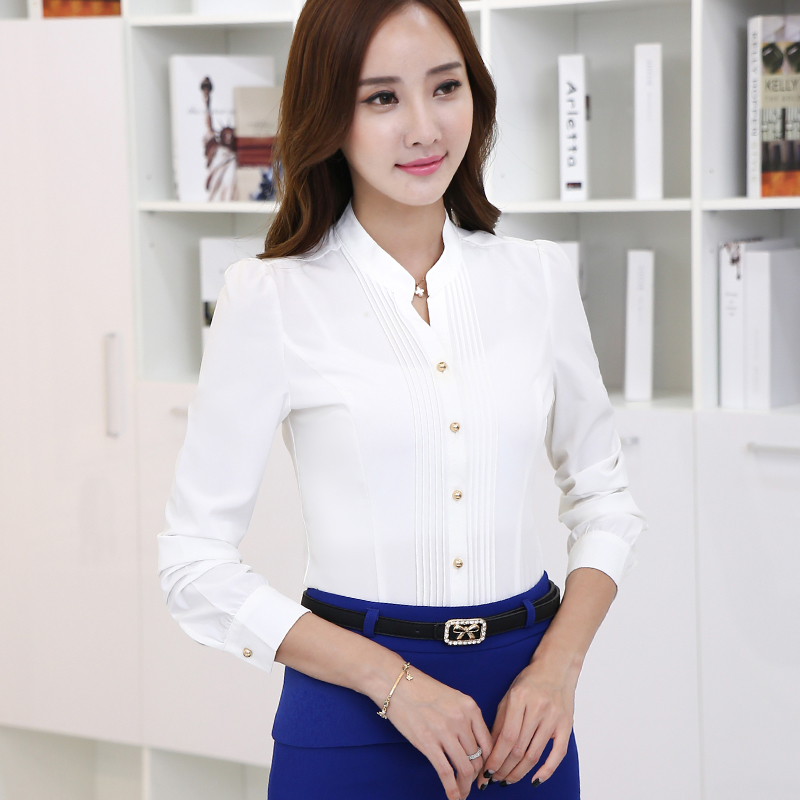2016 Spring Fashion Women s Casual White Long Sleeve V-neck Chiffon office Blouse  ladies Shirt Workwear Women Tops Plus size 3XL 61213ba755e5