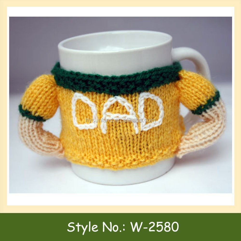 W-2580 crochet cup cozy knitted coffee mug cosy cotton coffee cup sleeve