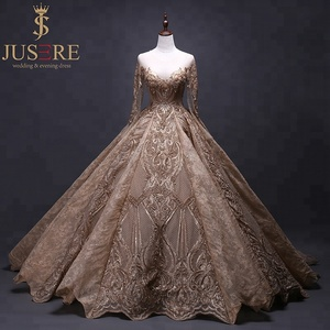 Luxury Gold Middle East Embroidered Long Sleeve Formal Evening Dress For Muslim Prom Gown