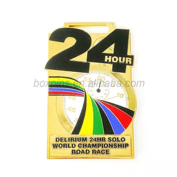 Big size 24h o' clock medal gold plated custom logo sport medals