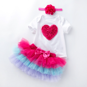 2019 New 0-2 Years Old Baby Holiday Cotton Short-Sleeve Six-Layer Gauze Skirt Suits Girls Colorful Tutus