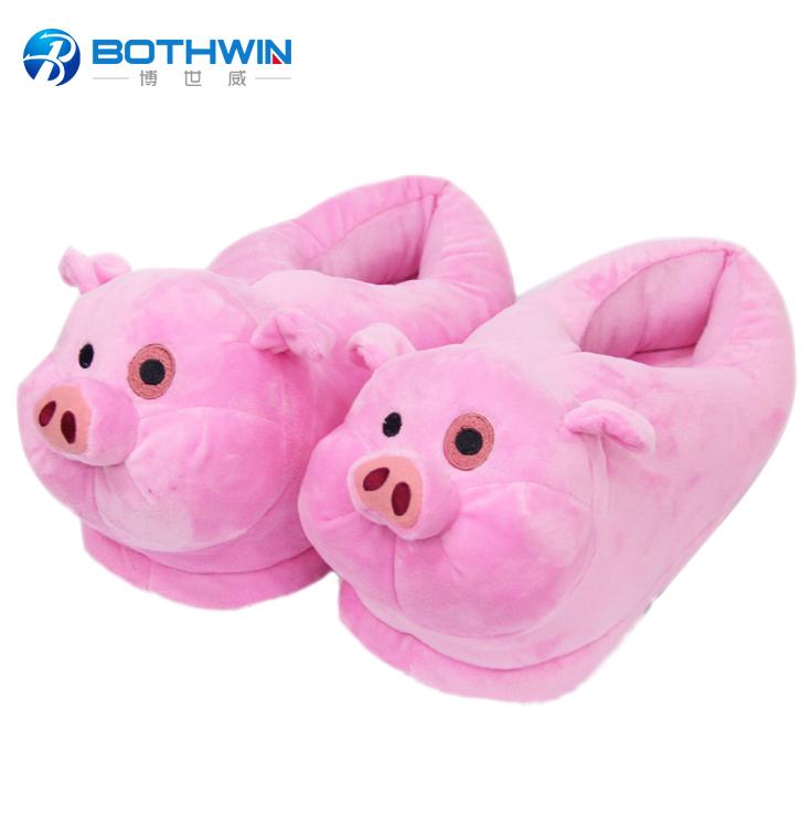 Oem Custom Fluffy Winter Plush Pink Pig