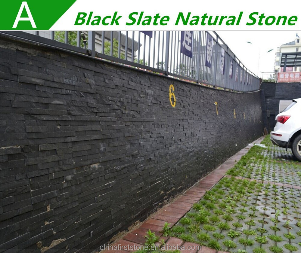 Hot sale popular outside wall tiles design black slate natural stone wall panels 8.99USD/M2