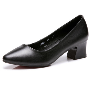 Lady Fashion Black Work Shoes Formal Woman Leather Uniform Middle Heel Office