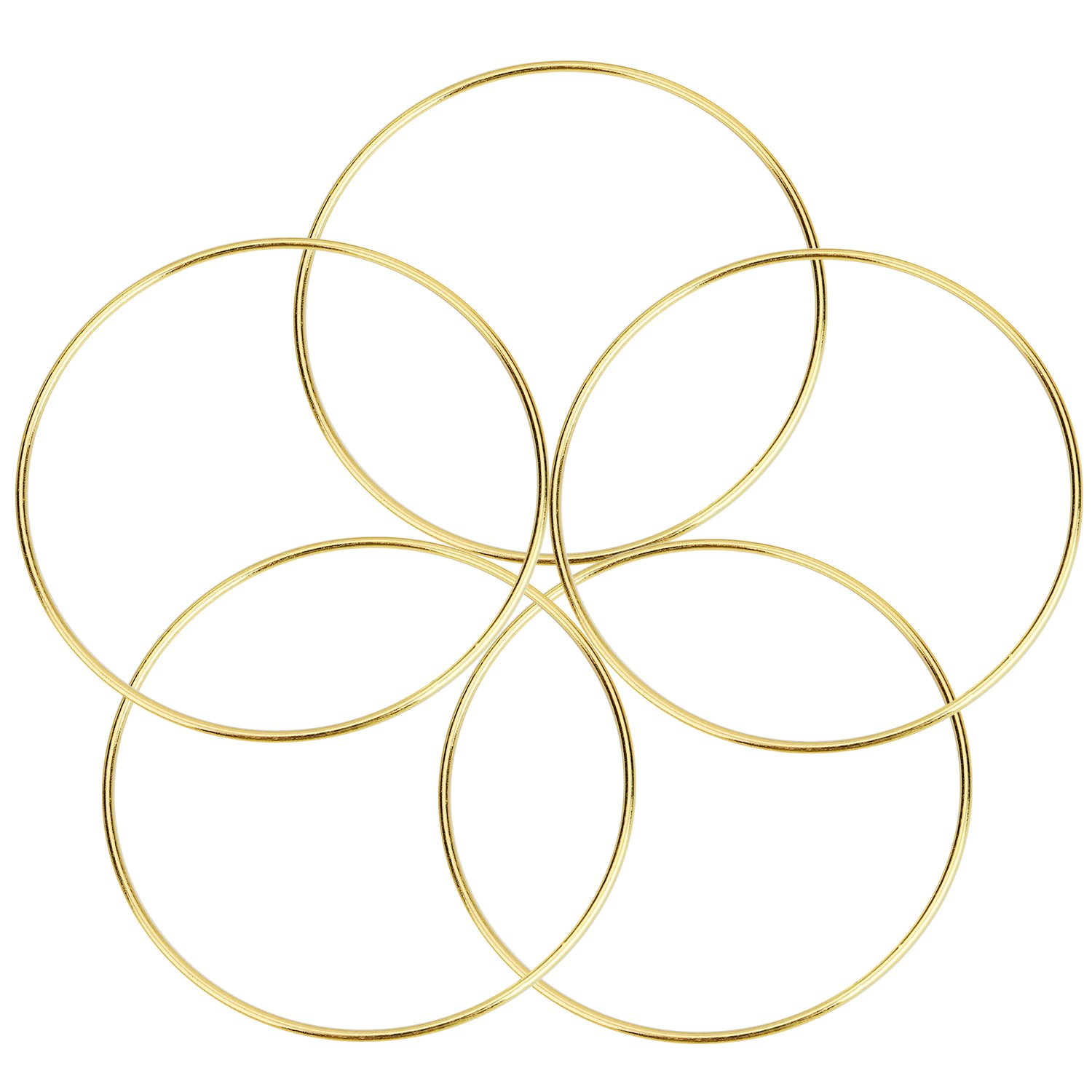 eBoot 5 Pack Gold Metal Rings Hoops Macrame Rings for Dream Catcher and Crafts (5 Inch)