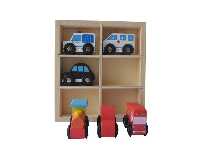 Goodkids 6 PCS Wooden Toys Cars Bus Engine Emergency Vehicles Educational Toy,Hot Sale Toys For Preschool Children