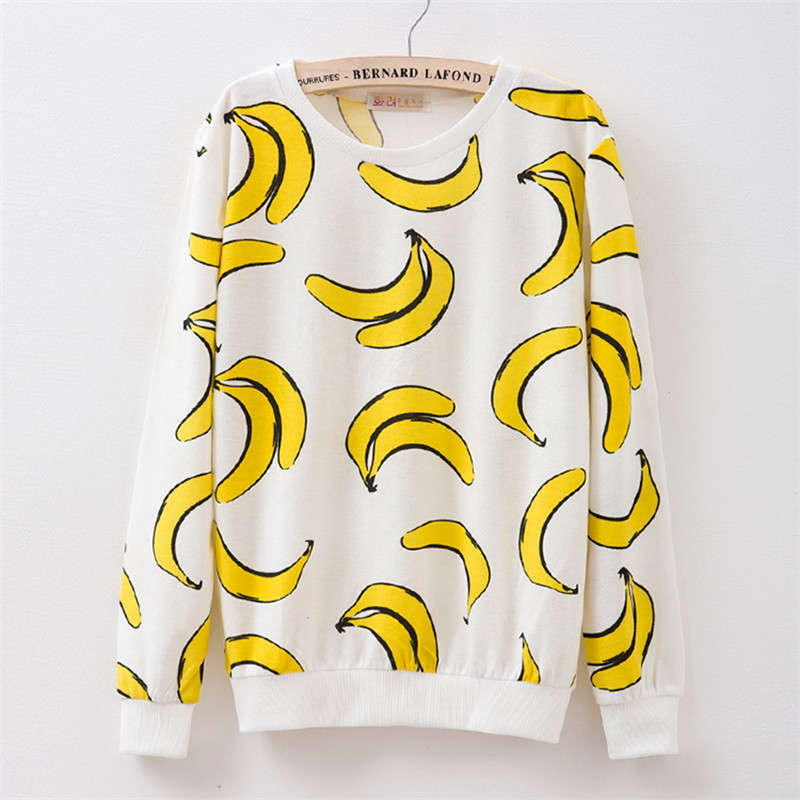 New 2016 autumn style Hoodies women Banana print women s o neck tracksuits Hoodies harajuku women
