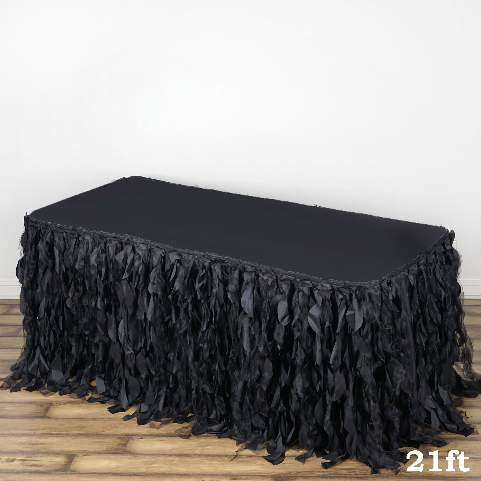 Get Quotations · 21ft Enchanting Curly Willow Taffeta Table Skirt   Black