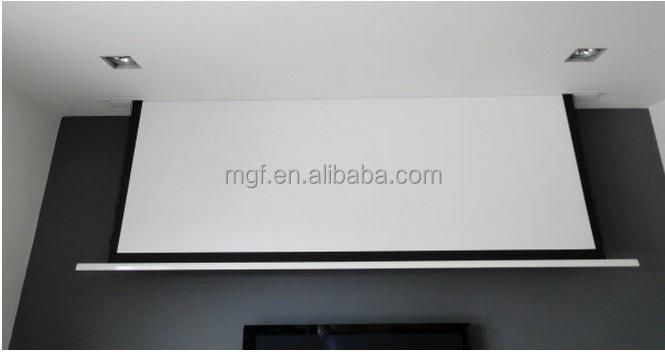 Floor mounted electric projector screen floor matttroy for Motorized floor up screen