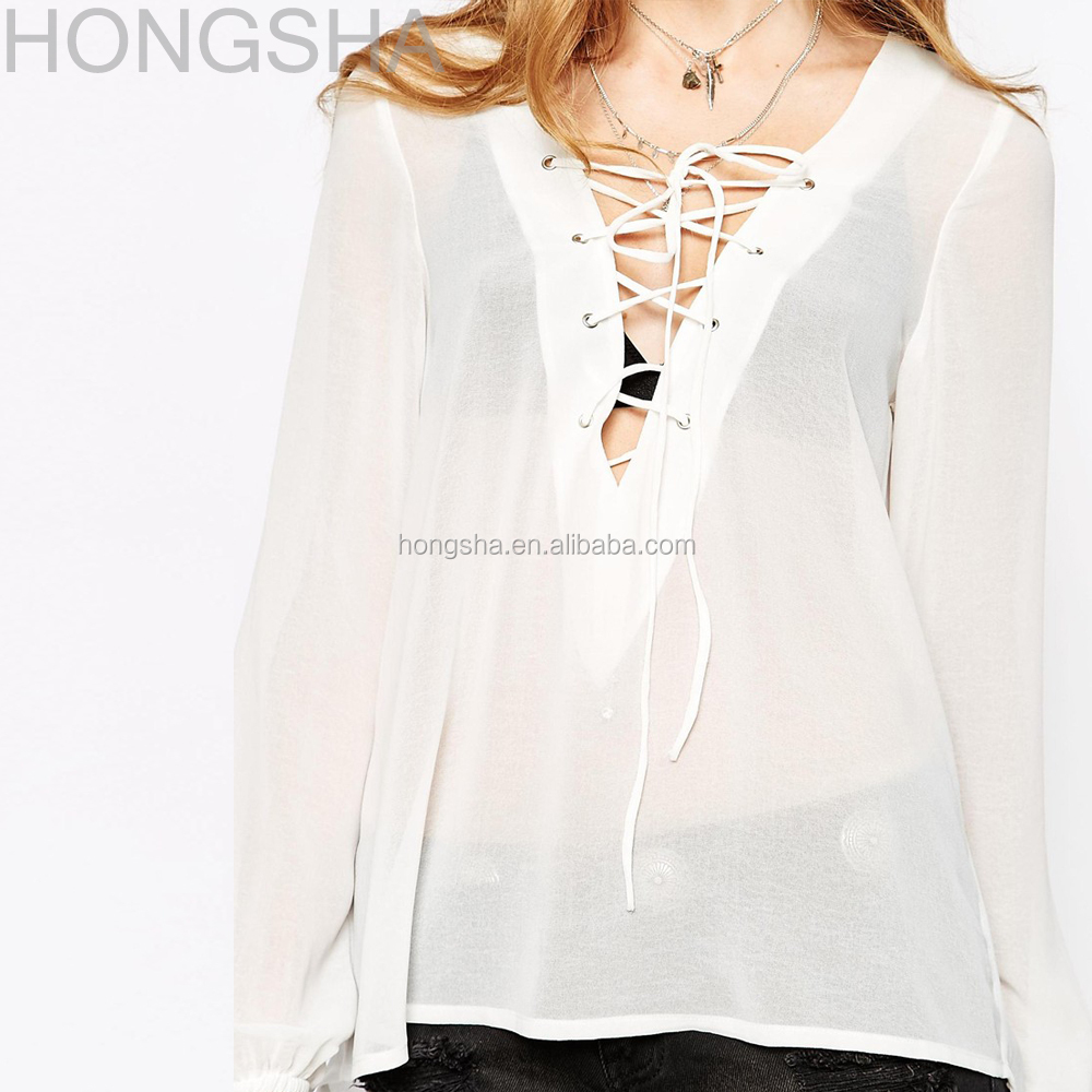 See-through Chiffon Blouse Designs Lace Up Neck Designs For Ladies ...