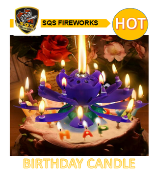 Chinese Unique Rotating Flower Lotus Music Magic Birthday Candle Fireworks Prices