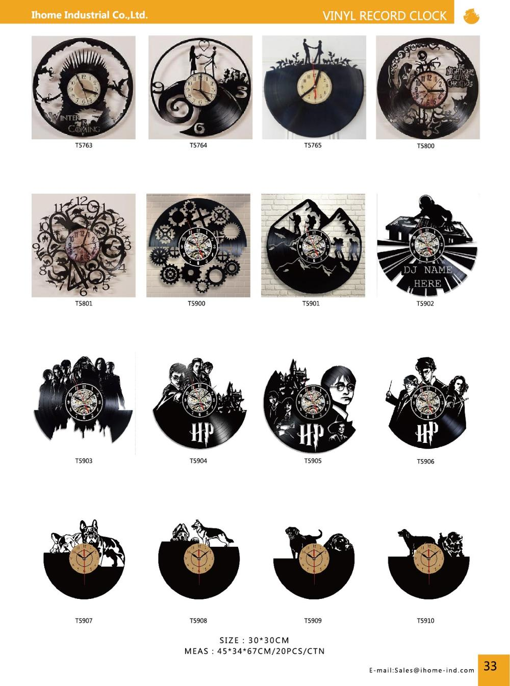Vinyl Record Wall Clock Modern Design 3D Hanging Christmas Decorative Clock