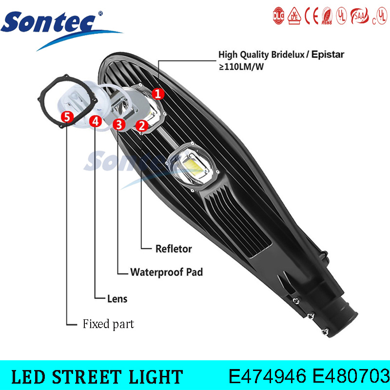 Sontec UL DLC High quality Aluminum lamp body 40w led street lights outdoor