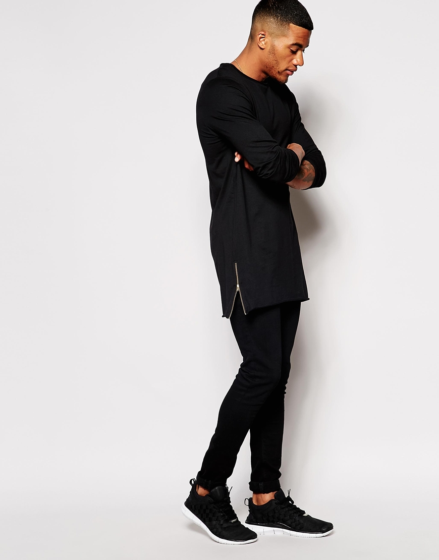 super longline long sleeve men blank plain t shirt with. Black Bedroom Furniture Sets. Home Design Ideas
