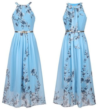 f63b05b7b90 2018 Summer Women Dress Chiffon Floral Print chinese Halter Tunic Sleeveless  Pleated Long Maxi Party Boho