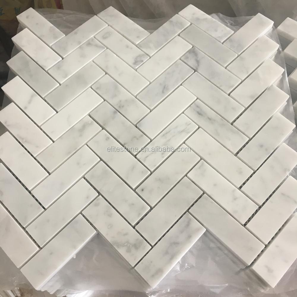 Azulejo mosaico de m rmol 30x30 espiga carrara blanco for Azulejos de marmol