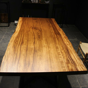 Natural Sides Solid Wood Table Top, Simple Metal Or Wooden Leg Design
