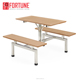 School Canteen Dining Furniture Plywood Connected Table and Chairs Bench Set