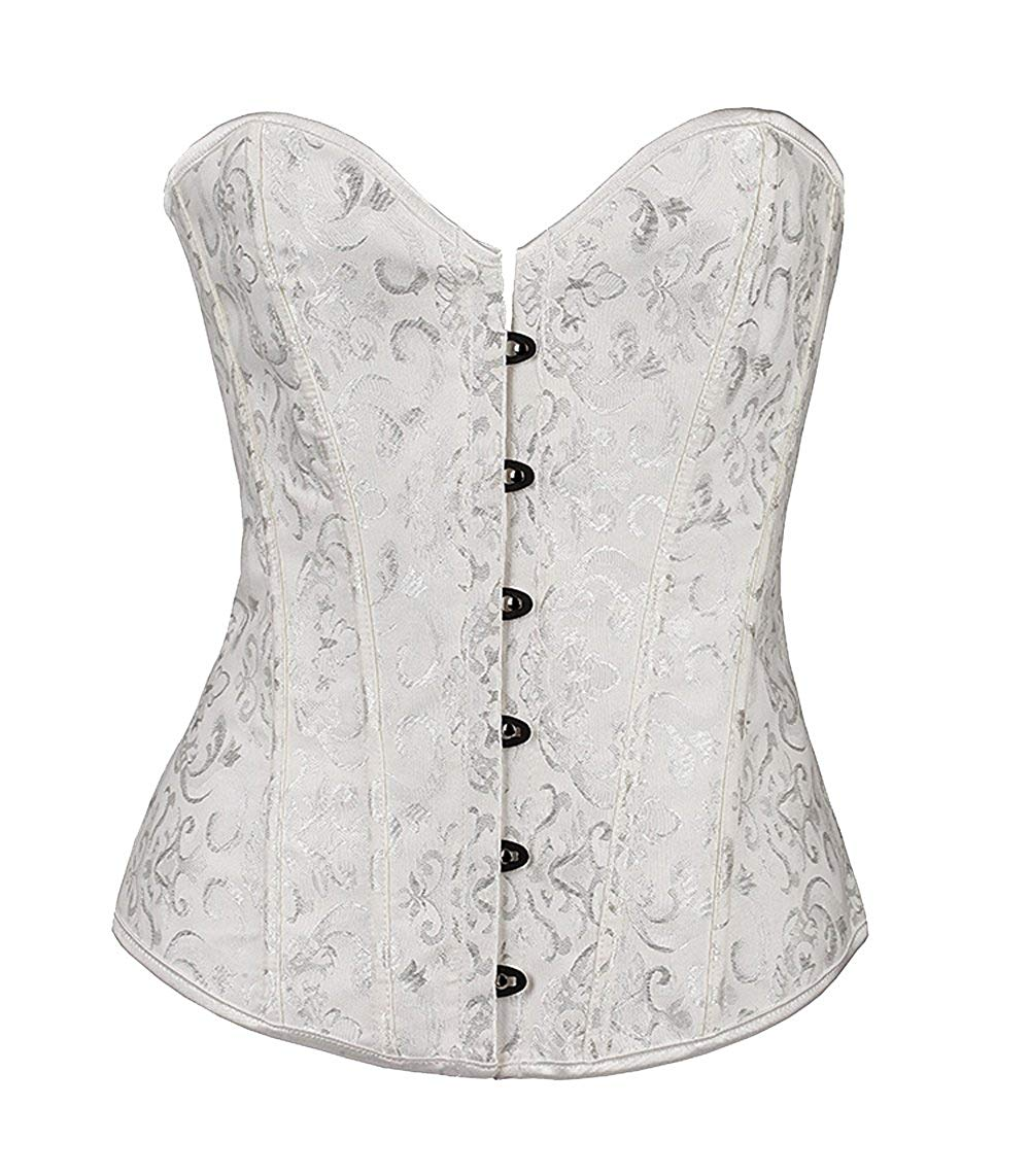 ZAMME Women's Strapless Sparkling Diamante Lace Up Steel Boned Corsets for Wedding