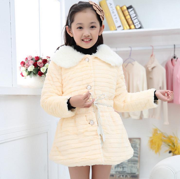 2015 New Fashion Baby Girls Faux Fur Coat Winter Cute Thicken Warm Fur Coat High Quality Kids Lovely Outwear Roupas de Menina