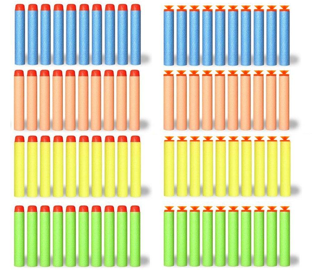200 Foam Darts Refill Bullet Pack for Nerf N-strike Elite Series Blasters (100 Suction Darts + 100 Tip Darts)