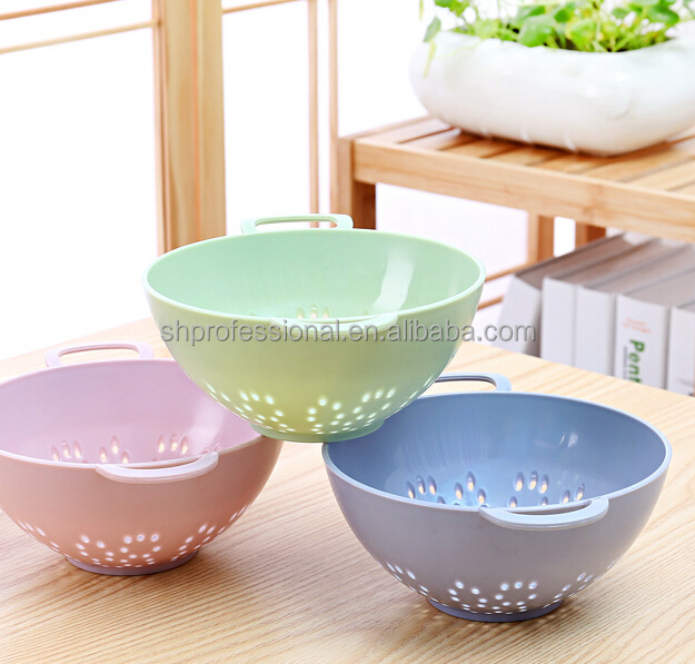 Household Dropping Water Plastic Vegetable Basket With Handles