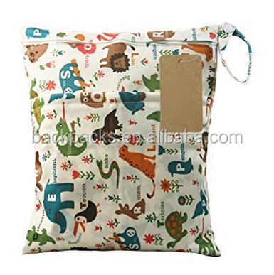 Dosige Wet Bag Waterproof Printed Diaper Bag Reusable Washable Zipper Baby Cloth Diaper Storage Bag Tote
