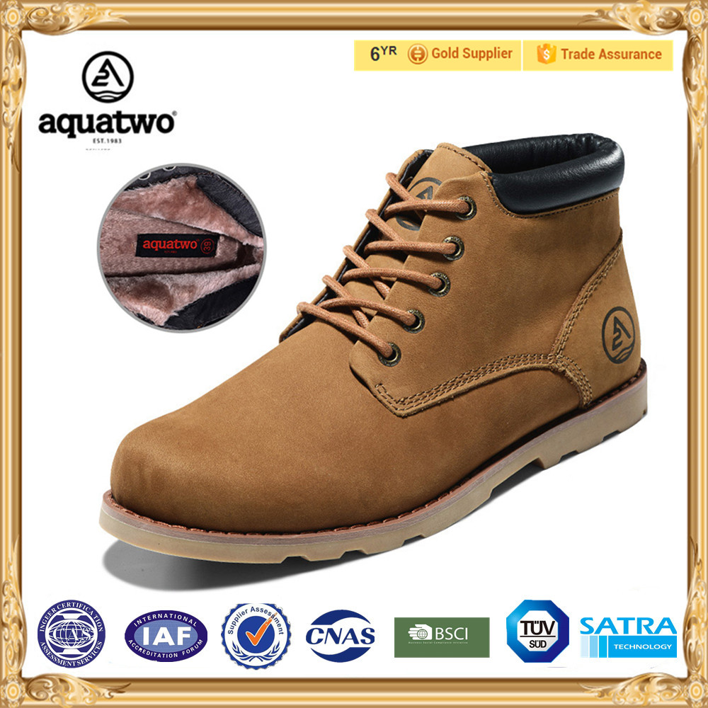 2017 New Design AQUATWO Mens Leather Dress Boots with fur lining