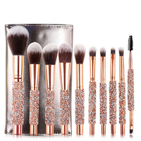 2019 Luxury Gold Rhinestone Beauty Needs 10pcs Makeup Brush Set