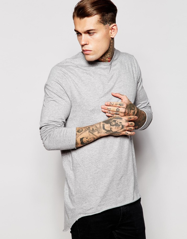 Long Line T Shirt Men With Pleated Back