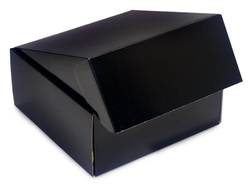"Decorative Shipping Boxes - Black Gourmet Shipping Boxes 9x9x4"" Auto Lock Boxes - (6 Per Pack) - WRAPS - 52BK"