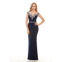 MFD104 Navy Blue Off Shoulder Crystal Belt Mother of the Bride Dress