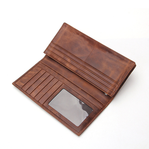 Cheque Book Card Holder Wallet With Zip Pocket Vintage Genuine Leather Men's Long Wallet