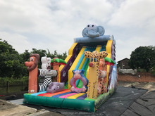 inflatable jungle animals theme slide with trampolin for kids