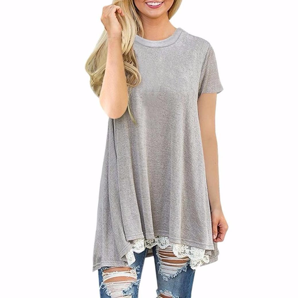 Clearance ! Women Blouse, ღ Ninasill ღ Fashion Lace Short Sleeve O- Neck Tops T Shirt Tank (L, Gray)
