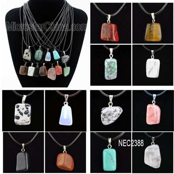 Crystal Gemstone Irregular Quartz Stone Pendant Necklace