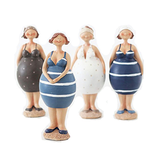 Fat Ladies Figurine Girl Statue Chubby Woman Sculpture
