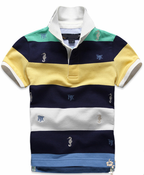 83a466337cf8 Free shipping spring autumn fashion cotton children kids short sleeve  stripe hippocampus t shirt,5-8 years old boys polo t shirt