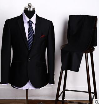 7d3e3cf844 Moda Un Botón Blazers Negro Traje De Hombre De Negocios