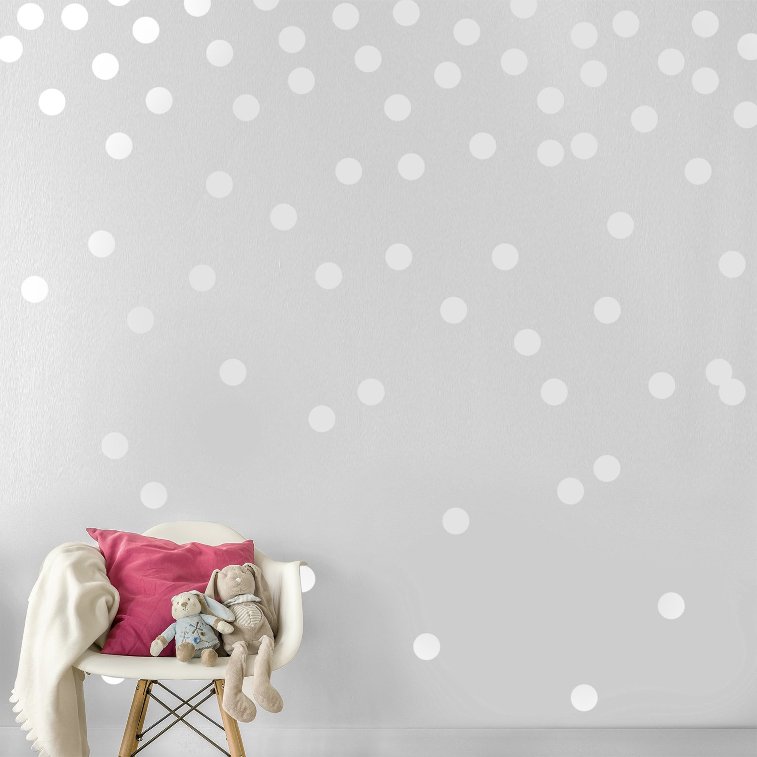 White Wall Decal Dots (200 Decals) | Easy Peel & Stick + Safe on Walls Paint | Removable Matte Vinyl Polka Dot Decor | Round Circle Art Glitter Sayings Sticker Large Paper Sheet Set for Nursery Room
