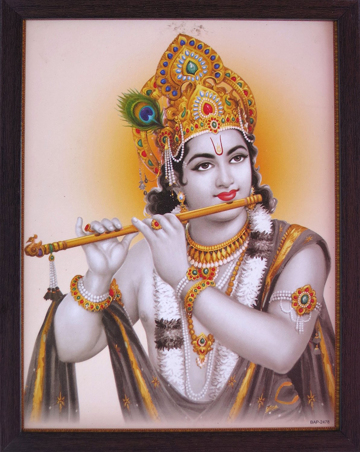 Lord Krishna Playing with His Flute and Wearing Garland, a Religious & Elegant Posture with Frame, Must for Office / Home / Religious