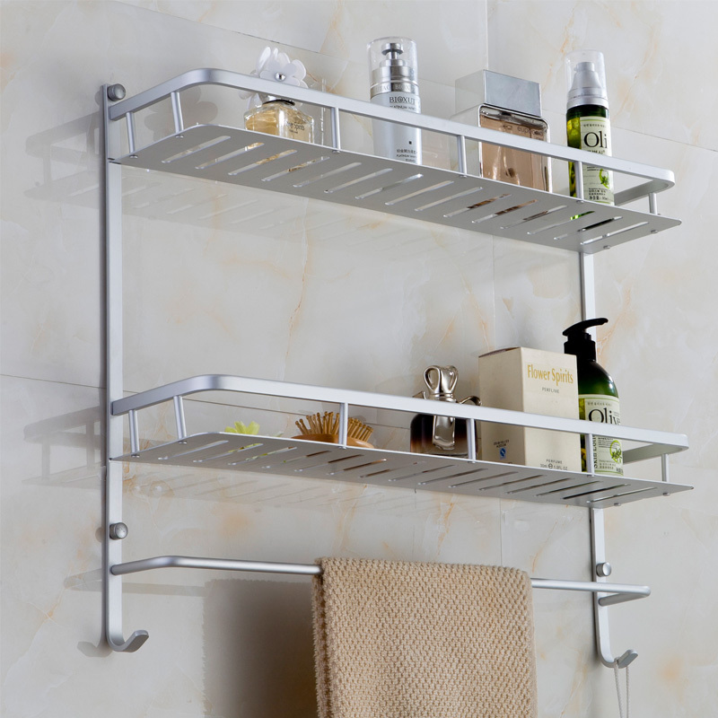 Two Layers With Hock Bath Towel Rack