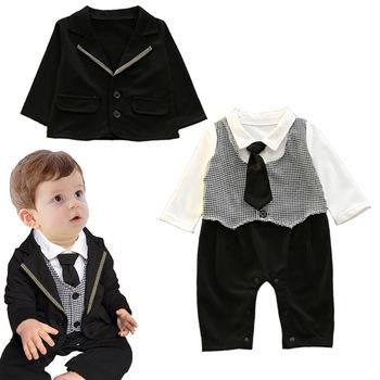 6f76029fbb857c S32101W Pasgeboren Baby Jongens Kleding Set Gentleman Gestreepte Stropdas  Romper + Jasje 2 stks Kleding Set