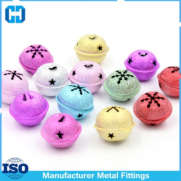 Colorful 50mm Snow Big Large Metal Jingel Bell For Tree Decoration