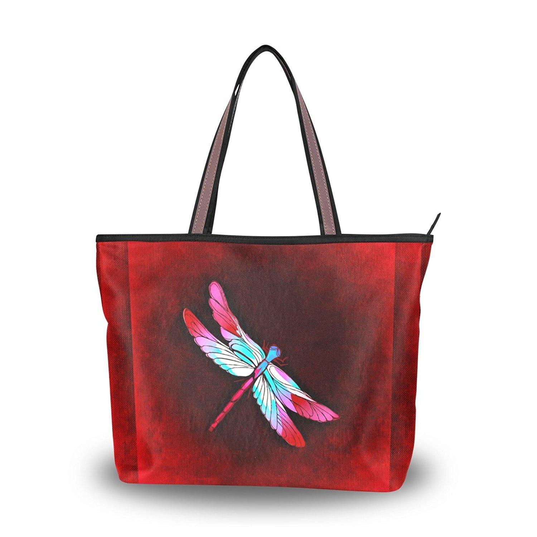 WIHVE Women's Shoulder Bag Satchel Handbags Dragonfly Travel Tote Purse