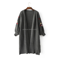 2017 Wholesale Long Cardigan for Woman Embroidery Sweater with Trumpet Sleeves