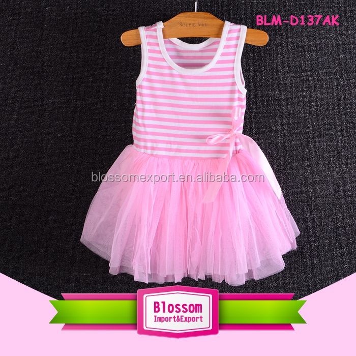 2017 Baby Frock Design Pictures Cute Little Girls Dresses Pink Girl Stripe Tutu Dress