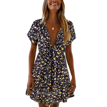 62e1a5a28ee7 Noble Floral Print Black Deep V Neck Sexy Women Summer Skater Dress Online  Shopping