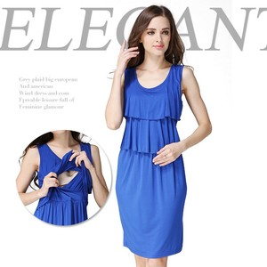 Pleated Jewelry Blue Hide Breastfeeding Opening Maternity Dress for Pregnant Women